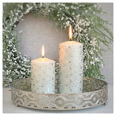Home Inspirations Large Oval Silver Nickel Mirror and Crystal Tray//Candle Plate