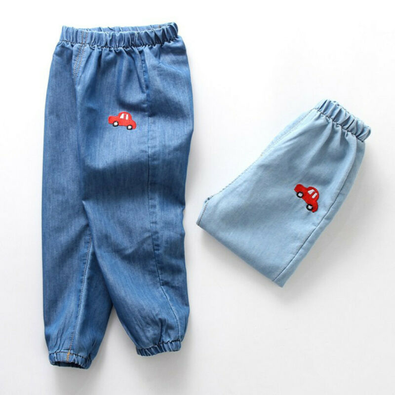 Children Baby Boy Girl Cartoon Hole Denim Long Pants Elastic Waist Jeans Clothes 5