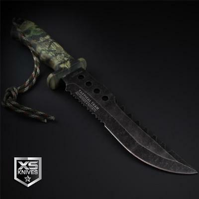 "Tactical STONEWASHED Combat CAMO Bowie Survival FIRE STARTER Hunting Knife 12"" 9"