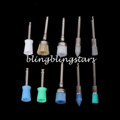 100Pcs Mixed Color Nylon Latch Flat Polishing Dental Prophy Brushes Cup Kit 6
