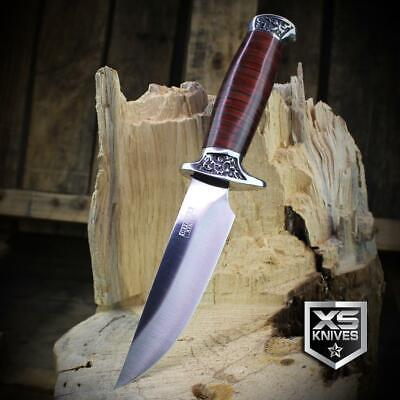 Combat SURVIVAL Hunting Tactical BOWIE Brown Wood Fixed Blade FULL TANG Knife 10