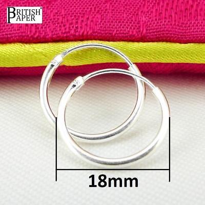 Girls 925 Sterling Silver 8mm -20mm Small Tiny Hinged Hoop Sleeper Earrings Pair 7