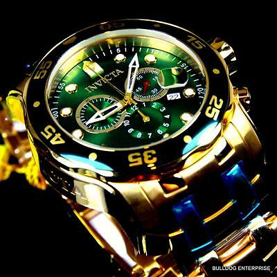 Mens Invicta Pro Diver Scuba 18kt Gold Plated Chronograph Green 48mm Watch New 4