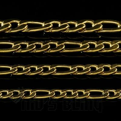 18K IP Gold Plated Solid FIGARO CHAIN 316L Stainless Steel Men's Link Necklace