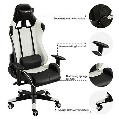 Home Office Executive Racing Computer Desk Faux Leather PU Recliner Gaming Chair