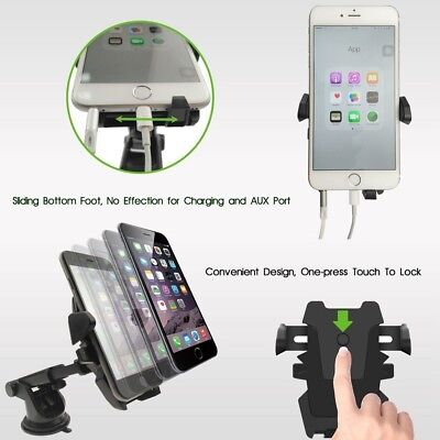 360 Rotatable Car Windscreen Suction Cup Mount Mobile Phone Holder Bracket Stand 8
