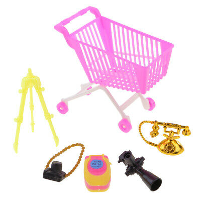 5pc Pink Plastic Supermarket Cart Trolley Set for Doll Kelly Shopping 7