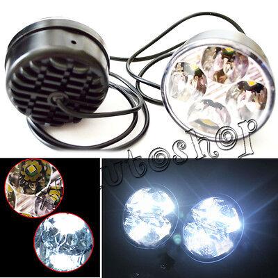2pcs White 4 LED Round Daytime Running Light DRL Car Fog Day Driving Lamp 12V US
