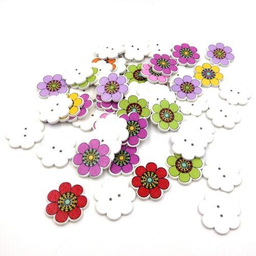 8 Knöpfe Blume 15mm bunt Holzknöpfe Knopf zwei Löcher Nähen Schmuck 10606