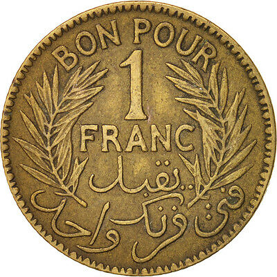 [#15388] Tunisia, Anonymous, Franc, 1921, Paris, EF(40-45), Aluminum-Bronze 2