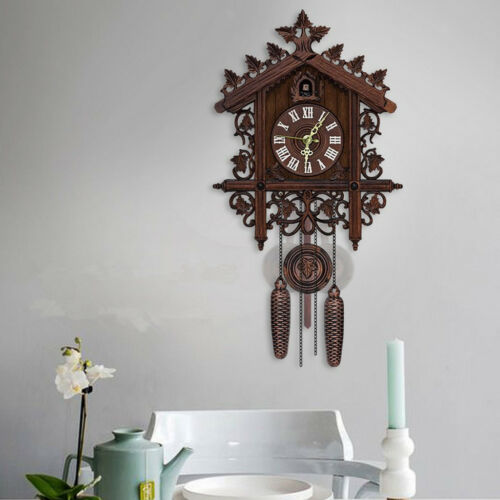 2Pcs Retro Wood Cuckoo Wall Clock with Pendulum Alarm Watch Decorations 4