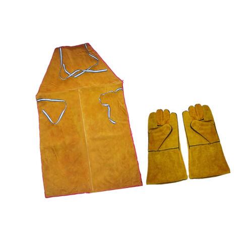 Welder Apron Welding Protective Gear Apparel Cowhide Leather Apron w/ Gloves 7