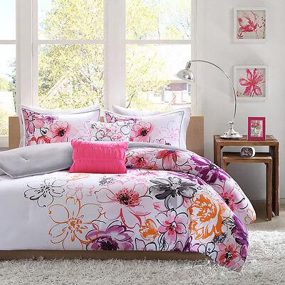 Reversible modern chic pink white aqua teal blue purple flower beautiful 5pc modern chic pink white teal purple black orange girl comforter set mightylinksfo