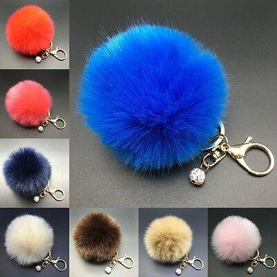 8CM Rabbit Fur Fluffy Pompom Ball Handbag Car Pendant Charm Key Chain Keyrings/ 6