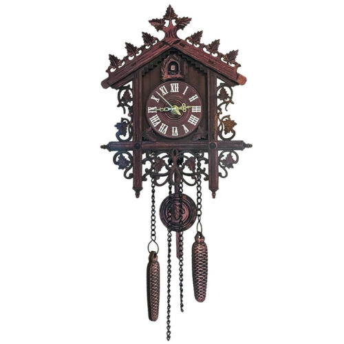 2Pcs Retro Collectible Handcrafted Wood Cuckoo Wall Clock with Pendulum 10