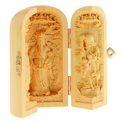 10cm Chinese Buddhism Boxwood Carving Fukurokuju Lucky Star 3 God Statue Box 3