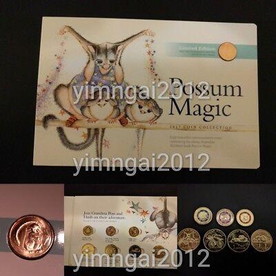2017 Possum Magic Uncirculated Coin Set - 3 x $2 Coloured Coin, 4 x $1 & 1c Coin