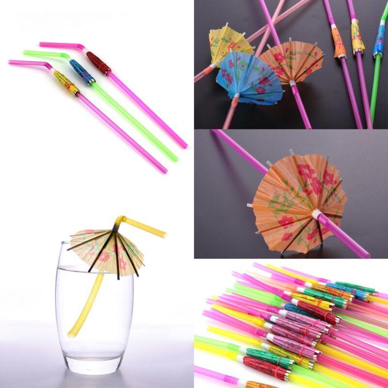 20PCS COcktail Umbrella Drinking Straw Assorted Party BBQ HAWAIIAN Theme Decor