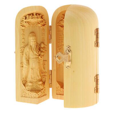 10cm Chinese Buddhism Boxwood Carving Fukurokuju Lucky Star 3 God Statue Box 8