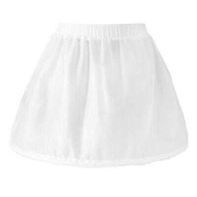 Girls 1 Hoop Tulle Wedding Flower Girl Short Chiffon Petticoat Underskirt 2