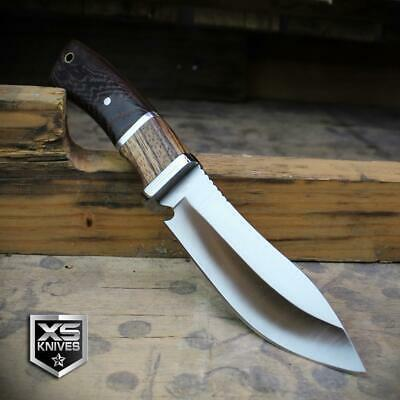 Combat SURVIVAL Hunting Tactical BOWIE Brown Wood Fixed Blade FULL TANG Knife 9