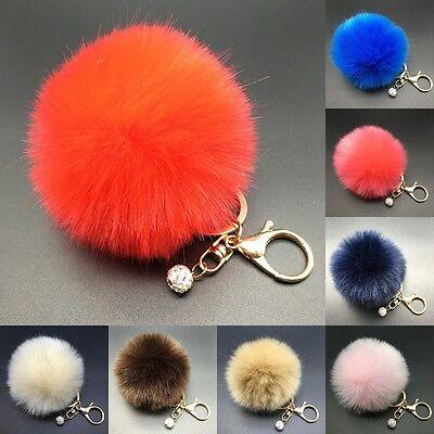8CM Rabbit Fur Fluffy Pompom Ball Handbag Car Pendant Charm Key Chain Keyrings/ 5