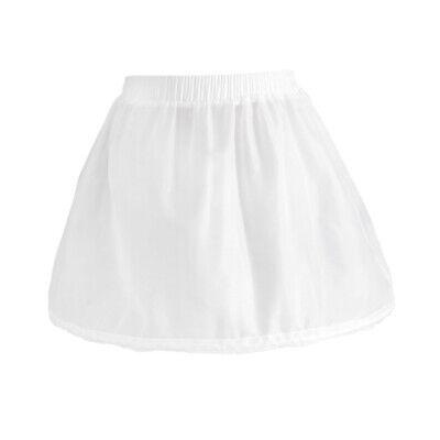 Girls 1 Hoop Tulle Wedding Flower Girl Short Chiffon Petticoat Underskirt 3