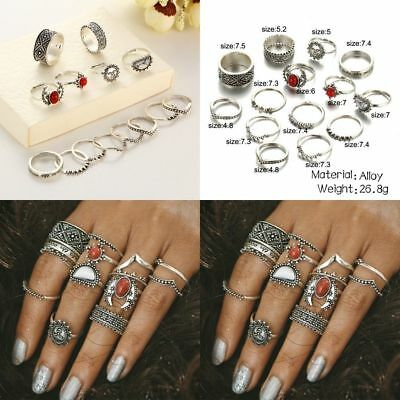 Retro 12Pcs/ Set Silver Gold Boho Arrow Moon Flower Midi Finger Knuckle Rings 8