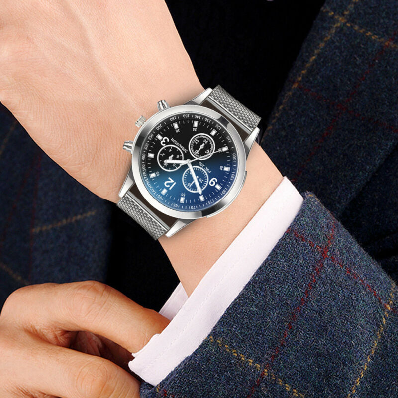 Men's Military Watches Analog Quartz Stainless Steel Big Dial Wrist Watch Gift 4