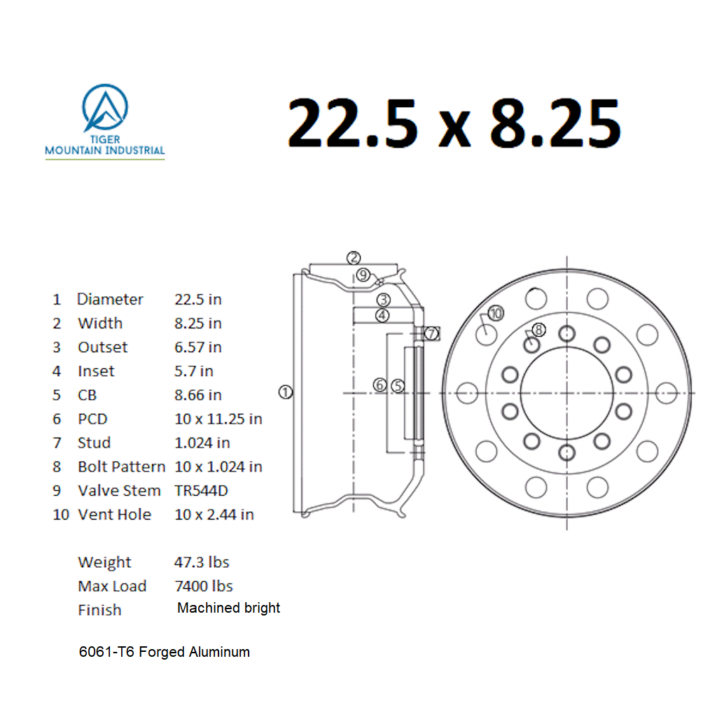 ALCOA CLASSIC STYLE UNIRACING 22.5 X 8.25 Truck Wheel Rim Forged Aluminum