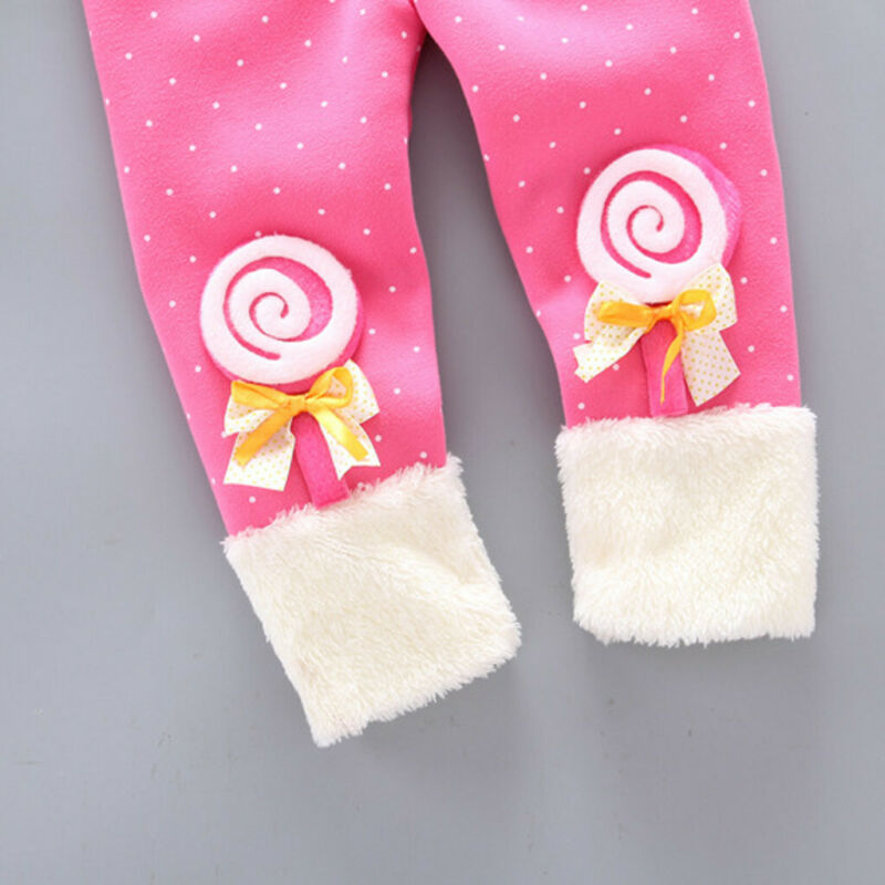 Toddler Baby Girls Dot Candy Thick Warm Pants Trousers Legging Clothes UK 9
