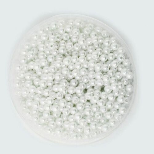 1000pcs 6mm DIY ABS Round Pearl Spacer Loose Beads Jewelry Making White&Pink 3