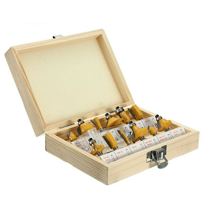 12X  1/4'' Professional Shank Tungsten Carbide Router Bit Set & Wood Box Case 9