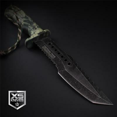 "Tactical STONEWASHED Combat CAMO Bowie Survival FIRE STARTER Hunting Knife 12"" 11"