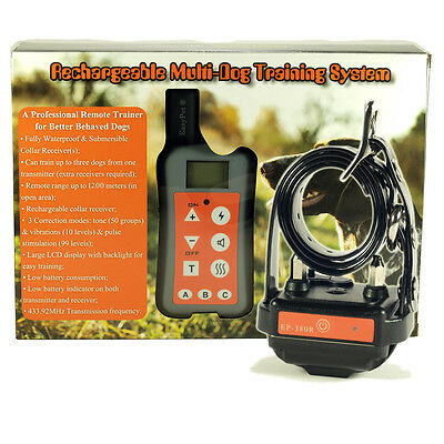 1200Meter 3-in-1 Easypet 100% Waterproof Rechargeable Remote Dog Training Collar