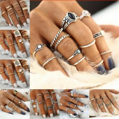 Retro 12Pcs/ Set Silver Gold Boho Arrow Moon Flower Midi Finger Knuckle Rings 4