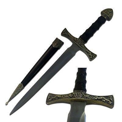 "13.5"" KING ARTHUR MEDIEVAL Lion Crest SHORT SWORD DAGGER Scabbard w/ SHEATH 3"