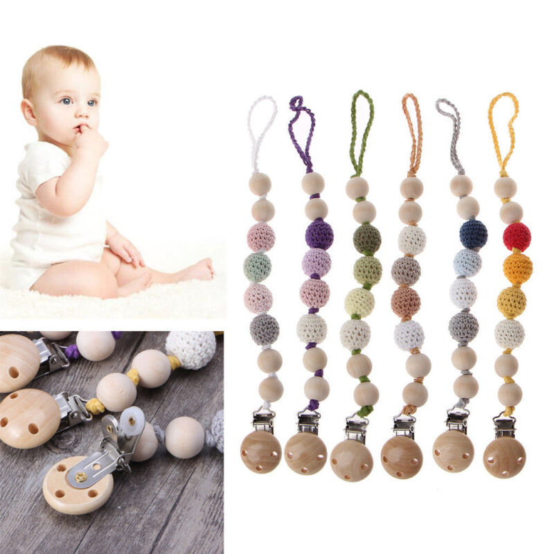 Wooden Soother Silicone Holder For Baby Infant Chew Pacifier Clip Teething Dummy 6
