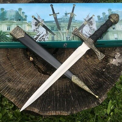 "13.5"" KING ARTHUR MEDIEVAL Lion Crest SHORT SWORD DAGGER Scabbard w/ SHEATH 2"