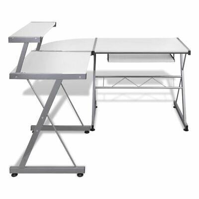 vidaXL Mesa de Ordenador Bandeja Teclado Extraíble Blanco Escritorio Oficina 4