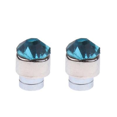 2pc Magnetic Crystal Round Earrings Non Piercing Clip On Men Kids Ear Magnet 6