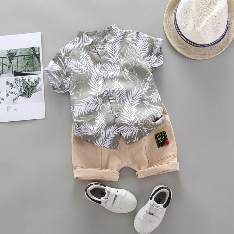 Toddler Kids Baby Boy Short Sleeve Feather Pattern Shirt Tops+Shorts Set Clothes