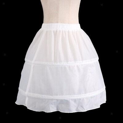 Girls 2 Hoop Tulle Wedding Flower Girl Short Chiffon Petticoat Underskirt 6