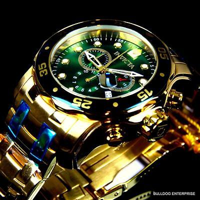 Mens Invicta Pro Diver Scuba 18kt Gold Plated Chronograph Green 48mm Watch New 2