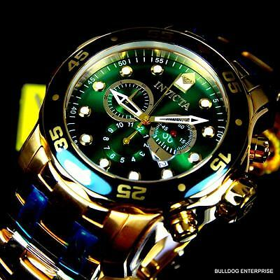Mens Invicta Pro Diver Scuba 18kt Gold Plated Chronograph Green 48mm Watch New 8