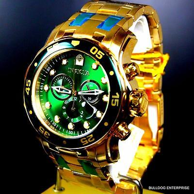 Mens Invicta Pro Diver Scuba 18kt Gold Plated Chronograph Green 48mm Watch New 12