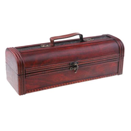 Wine Storage Box Vintage Display Decor Wood Wine Box Storage with Metal Lock 3