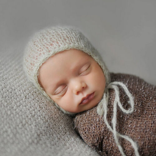 SG/_Baby Mohair knitting Bonnet Hat Newborn Photo Photography Prop Cap Outf WD