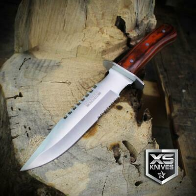 Combat SURVIVAL Hunting Tactical BOWIE Wooden Handle Fixed Blade FULL TANG Knife 6