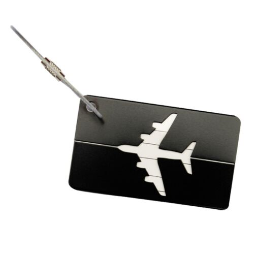 Étiquette Bagages Luggage Aluminium Porte Carte ID Nom Tag Valise Sac Voyage NF 4
